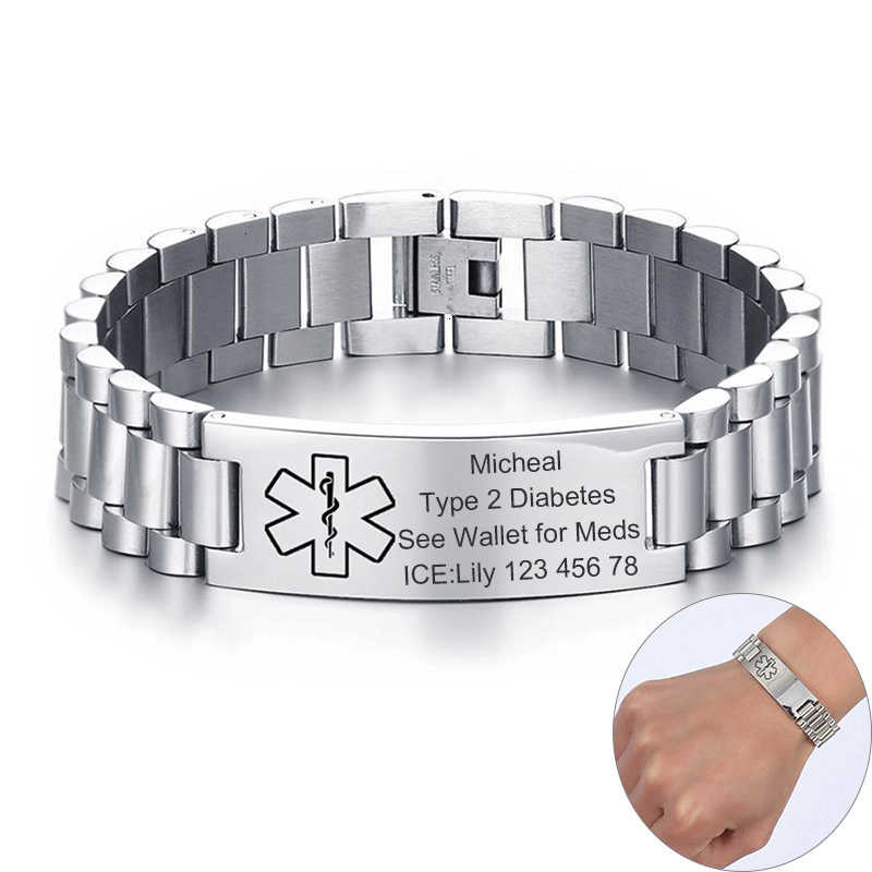 Mens Chunky Medical Alert ID Bracelets Anti Allergy Stainless Steel Male Custom Engrave Name Emergency Contact Info Care Gifts