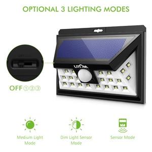 Image 3 - LITOM CD013 24 LED ضوء الشمس محس حركة زاوية واسعة LED مصباح حديقة ساحة الجدار تعمل بالطاقة الشمسية في الهواء الطلق ضوء 3 أوضاع قابل للتعديل