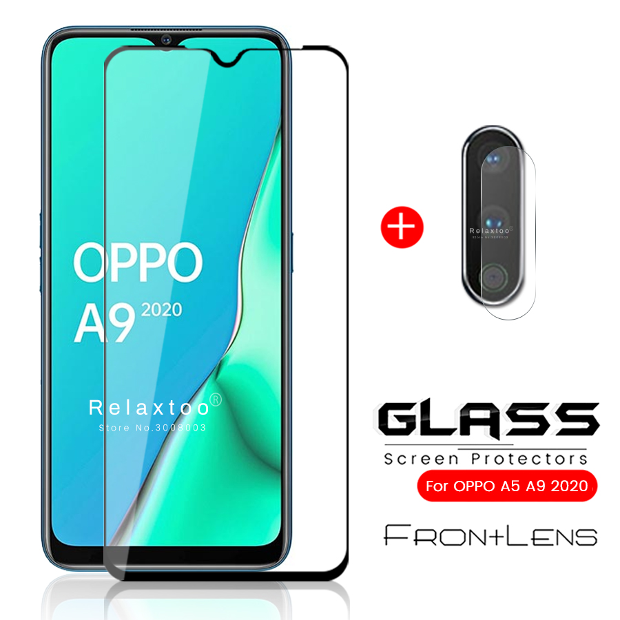 2-in-1 Protective Glass For Oppo A9 2020 Camera Glass For Oppo A9 A5 2020 Armored Protection Glass On Opo 5a 9a A 9 5 2020 6.5''