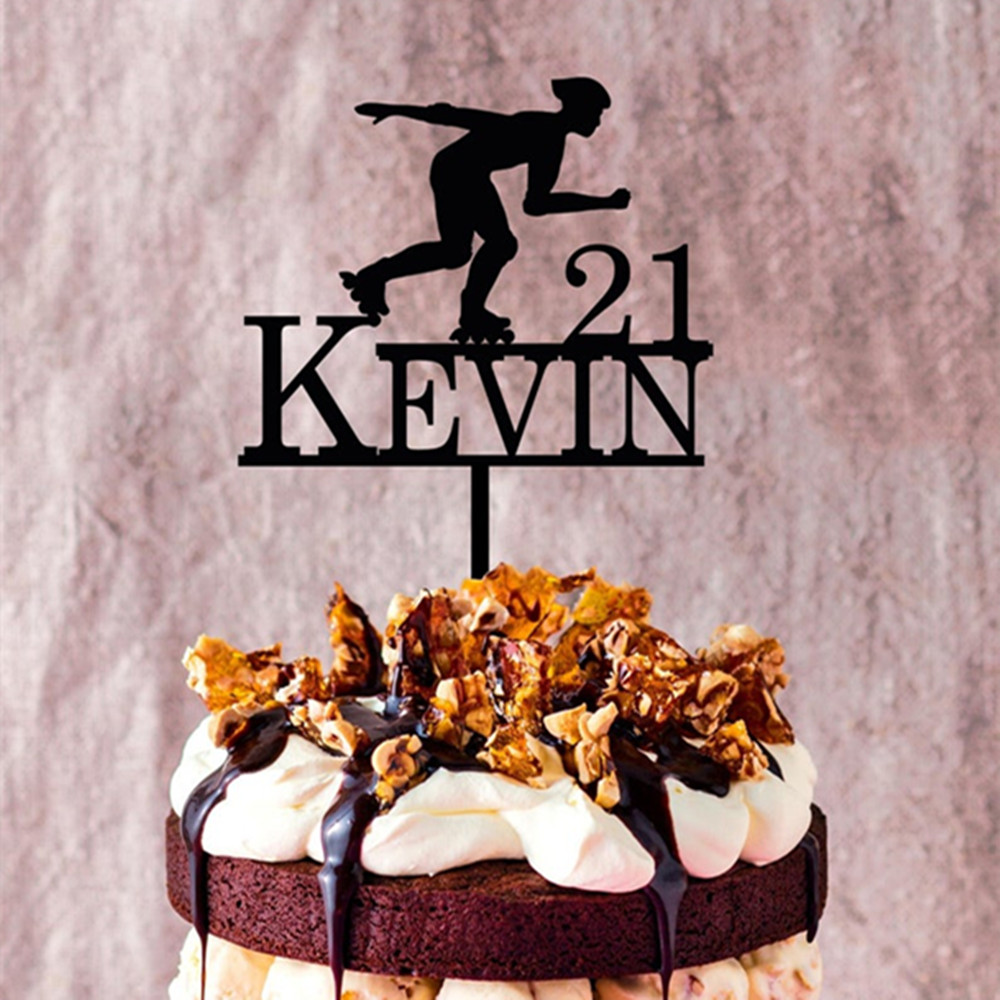 Amazing 21St Birthday Cake Topper Custom Name Age Cake Topper Sport Theme Funny Birthday Cards Online Fluifree Goldxyz