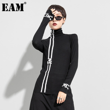[EAM] Women Black White Line Letter Print Temperament T-shirt New Turtleneck Long Sleeve Fashion Spring Autumn 2021 1DD0426