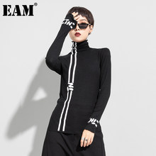 [EAM]-Camiseta de manga larga con estampado de letras para mujer, ropa con cuello de tortuga, a la moda, para primavera y otoño, 2021, 1DD0426
