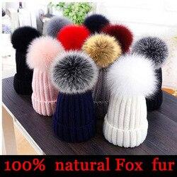 2020 novo natural de pele pom pom chapéu moda inverno chapéu para menina feminino gorros quentes