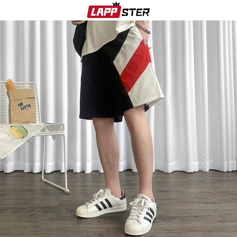 LAPPSTER Men Patchwork Streetwear Sweat Shorts Summer 2020 Mens Color Block Korean Running Shorts Japanese Streetwear Joggers