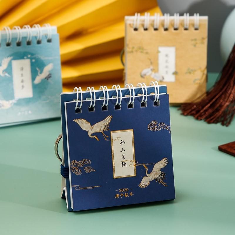 2020 Chinese Classical Style Crane Desktop Calendar DIY Mini Portable Calendars Key Chain Daily Schedule Planner