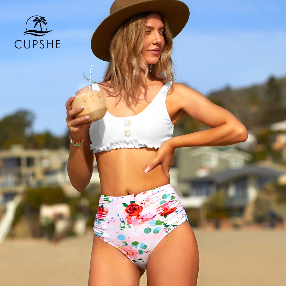 CUPSHE White And Floral Ruffled High-Waist Bikini Sets Sexy Tank Top Swimsuit Two Pieces Swimwear Women 2020 Beach Bathing Suits