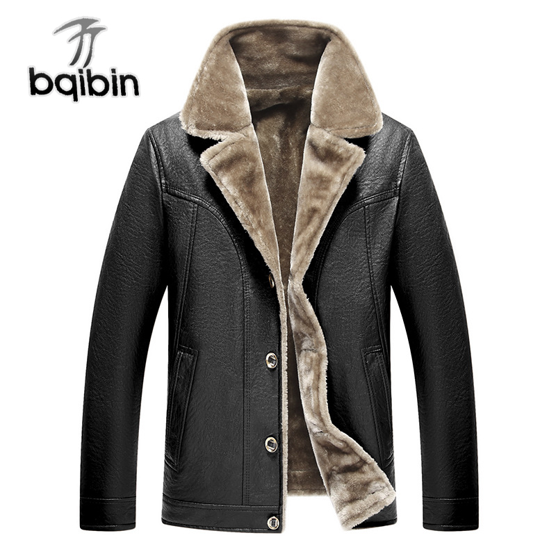 Classic Leather Fleece Jacket Winter Warm For Men Autumn Casual Male Thick Fur Collar Brown Coat New Brand Overcoat Parka Men