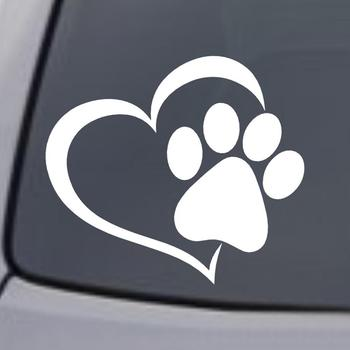 Car Sticker Cute Cartoon Dog Paw With Peach Heart Car Animal Pet Sticker Cat Accessories Car Decal Dog Love X5N9 image
