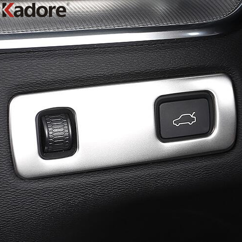 For Volvo <font><b>XC60</b></font> XC 60 2018 2019 ABS Matte <font><b>Carbon</b></font> Fiber cover Front Light Headlight Switch button sticker Cover Trim Accessories image