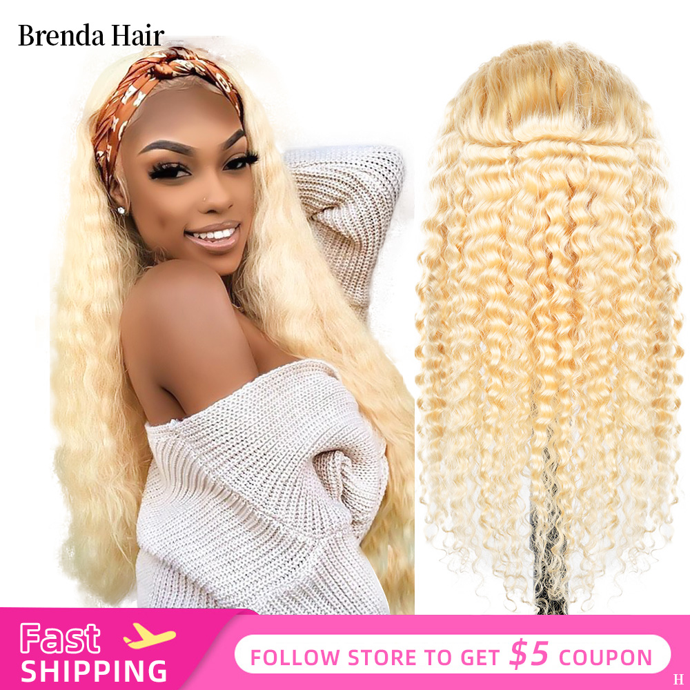 13x6 Glueless 613 Honey Blonde 180% Density Lace Front Wig Brazilian Deep Wave Lace Front Human Hair Wigs Pre Plucked