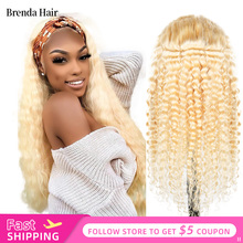 13x6 Glueless 613 Honey Blonde 180% Density Lace Front Wig Brazilian Deep Wave Human Hair Wigs Pre Plucked