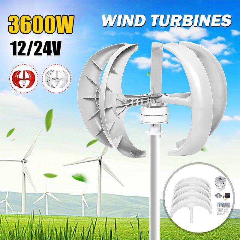 Gerador de Turbinas Eólicas 3600W + Controlador 12V 24V 5 Lâminas Lanterna Vertical Axis Gerador de Ímã Permanente para casa Streetlight