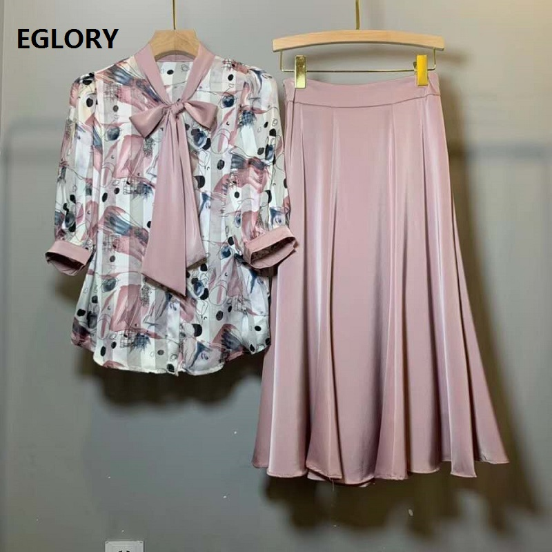 High Quality Skirt Suits 2020 Summer Fashion 2 Piece Set Women Bow Tie Elegant Blouse+Mid-Calf Pink Blue Skirt Set Clothings