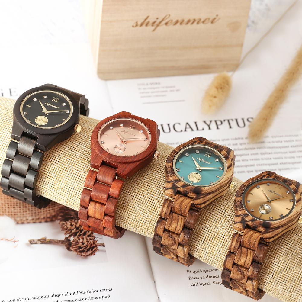 Shifenmei Wood Watch Women Luxury Brand Clock Quartz Wristwatch Fashion Ladies Bracelet Wooden Watches Female Relogio Feminino