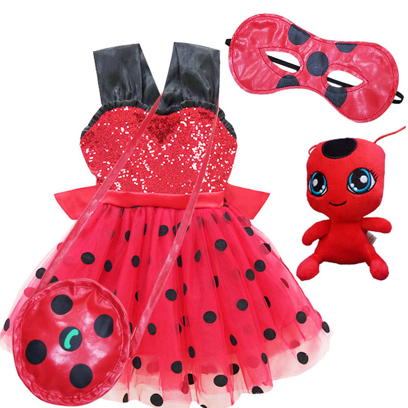 Ladybug Girls Dress For Wedding Evening Children Princess Party Kid Carnival Dresses For Girl Lady Bug Clothes Halloween Costume