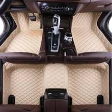 Couro personalizado tapete de pé do carro para hyundai i40 santa fe getz tucson solaris creta elantra kona couro todos os modelos carro