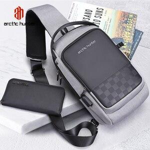 Image 1 - ARCTIC HUNTER 2020 USB su geçirmez erkek göğüs çantası erkek eğlence Messenger omuz gençler için çanta seyahat Crossbody Bolsas