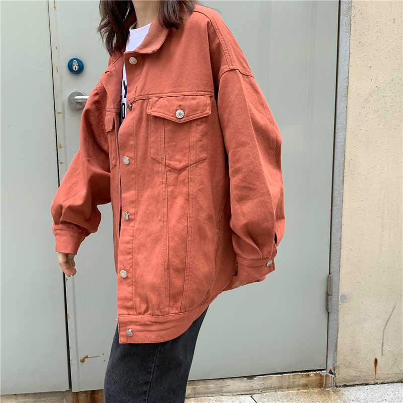 ストリートオーバーサイズのデニムジャケット女性のためのカジュアルキャンディ爆撃コート bf スタイル生き抜く A9025 トップス