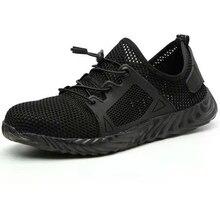 รองเท้าผู้ชายกลางแจ้งDrop Shippingเหล็กManการก่อสร้างรองเท้าเพื่อความปลอดภัยSTEEL TOEรองเท้าผ้าใบลื่นรองเท้าทำงานปกป้องฟุต
