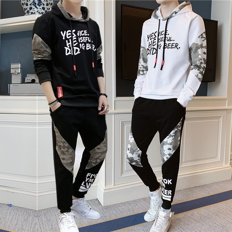 Autumn Clothing New Style MEN'S Casual Suit Korean-style Casual Mixed Colors Camouflage Trend Teenager Hoodie Sweatpants Set