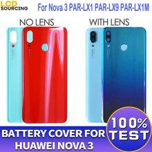 """Couvercle de batterie dorigine 6.3 """"pour Huawei Nova 3 couvercle de boîtier de batterie en verre arrière + objectif de caméra pour Nova 3 couvercle arrière remplacer"""