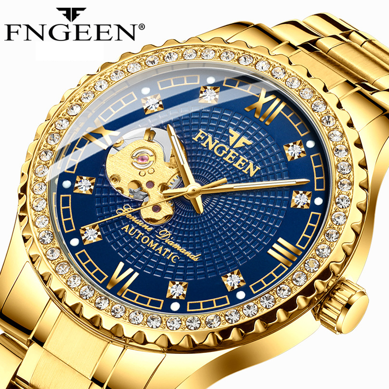 2020 Golden Stainless Steel Mens Skeleton Watches Top Brand Luxury Transparent Luminous Mechanical Male Automatic Wrist Watch