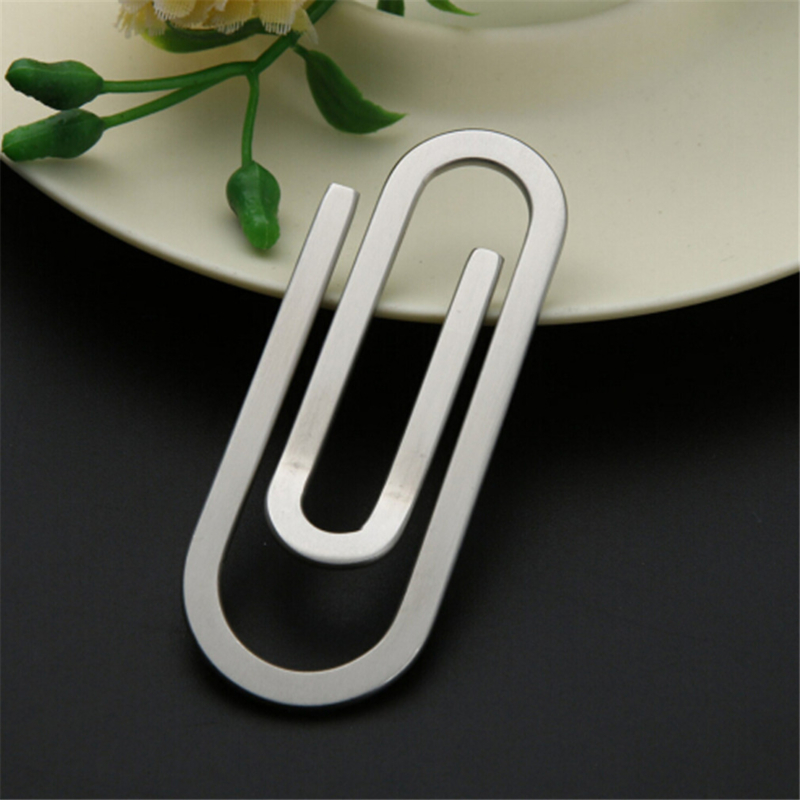 Creative Stainless Steel Metal Money Clips Paper Clip Holder Folder Banknote Clip Silver