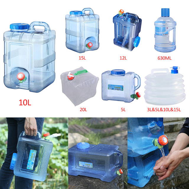 12/15L Capacity Outdoor Water Bucket Portable Driving Water Tank Container with Faucet for Camping Picnic Hiking