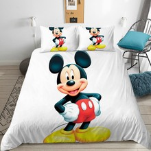 Disney Mickey Mouse Bedding Set Cute Comfortable Quilt Cover Pillowcase Double Queen Size Deluxe Children Bedroom Decoration