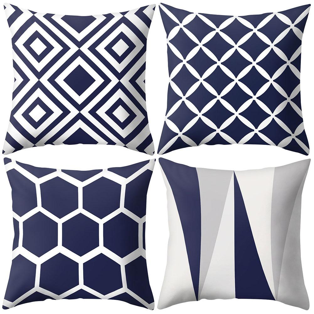 Throw Pillow Case 45*45 Navy Blue Geometric Pattern Pillow Cover Pillowcases Decorative Pillows for Home Decoration Pillow Cases