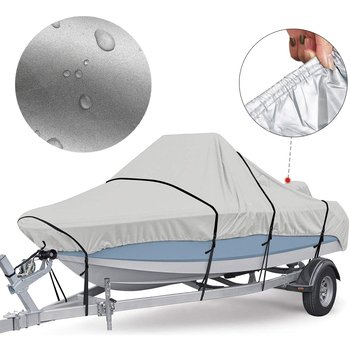 Adjustable Reflective 5 Sizes Boat Cover 300D Oxford Fabric Outdoor Protection Waterproof Anti-Smashing Tear Proof Fit Bass Boat