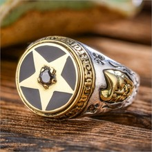 Good vibrations pentacle 925 pure silver ring thai silver male women's ring ov oriental vibrations ring male female