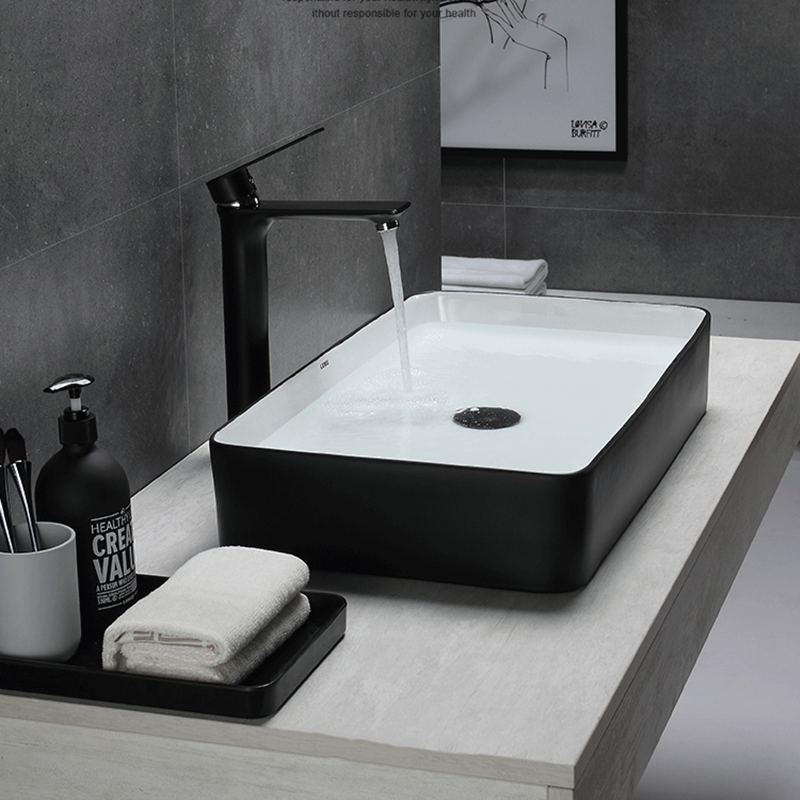 Bathroom Basin Sinks Vessel Ceramic Black White Modern European Art Home Simple