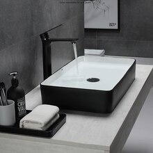 Preto branco arte lavatório moderno banheiro de cerâmica bacia simples preto banheiro europeu casa navio pias
