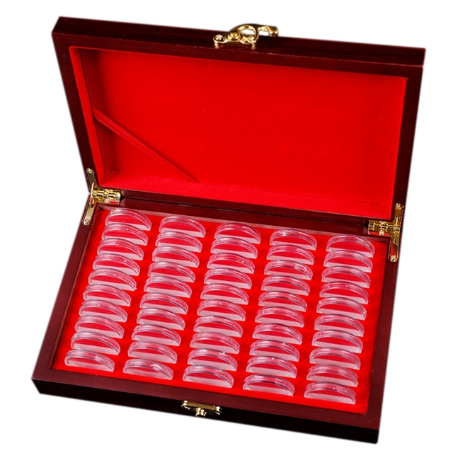 50 Pcs Wood Coin Protection Display Box Storage Case Holder Round Box Commemorative Collection Box