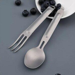 Image 2 - Youpin NexTool cuchara tenedor para exteriores, vajilla portátil de titanio puro, 2 en 1, desmontable, para deportes al aire libre, saludable, conveniente