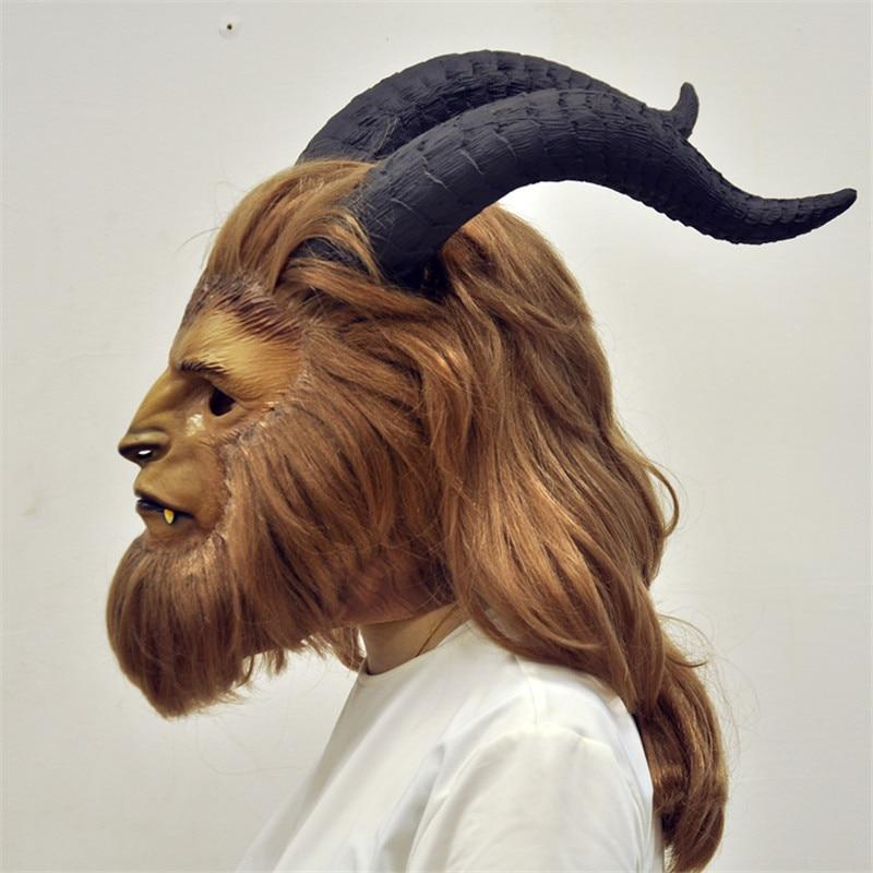 Beauty and the Beast mask Adam Prince Mask Cosplay Horror helmet Latex Lion Helmet custume for Halloween Party