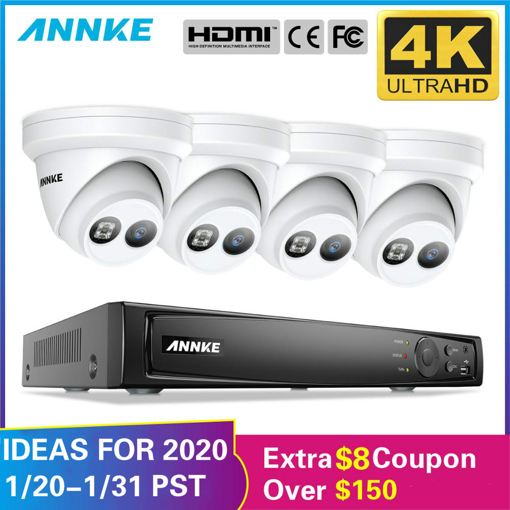 ANNKE 8CH 4K Ultra HD POE Network Video Security System 8MP H.265+ NVR With 4X 8MP 30m EXIR Night Vision Weatherproof IP Camera