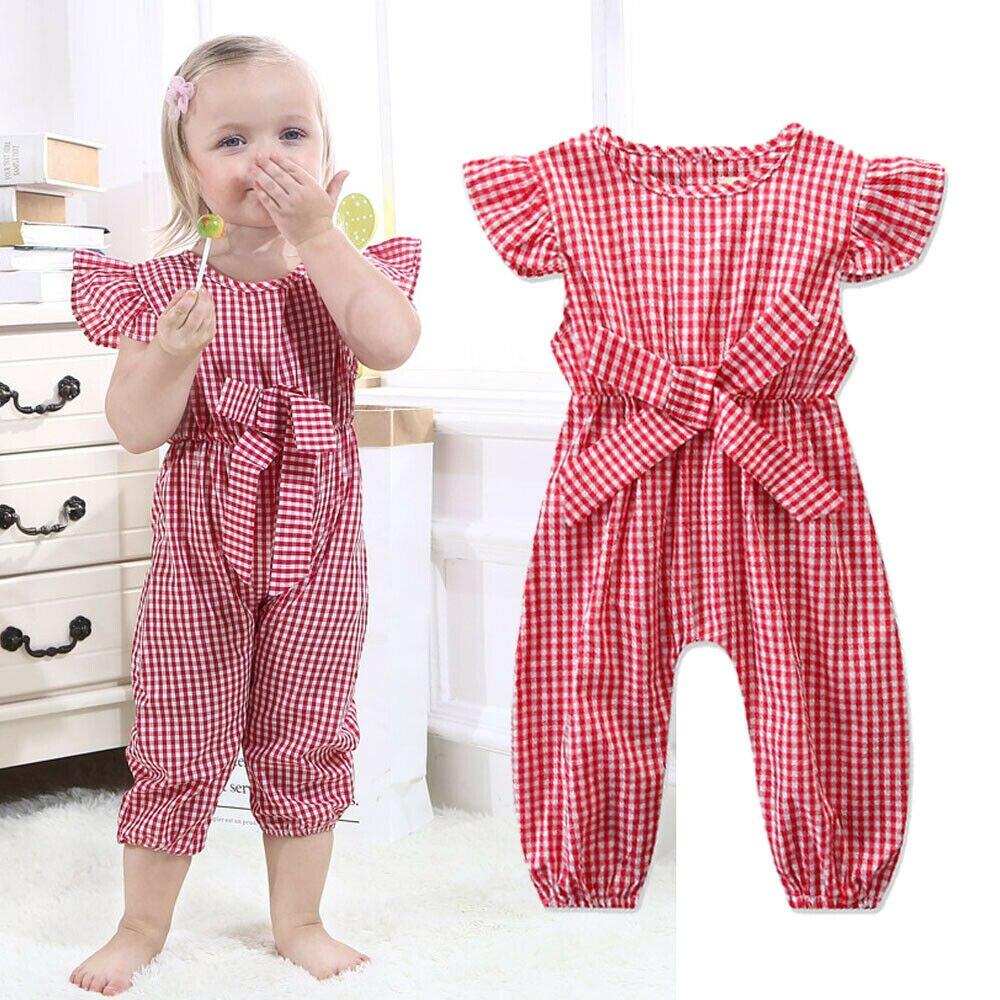 Toddler Newborn Baby Girl Plaid Romper Bodysuit Jumpsuit Playsuit Clothes Outfit