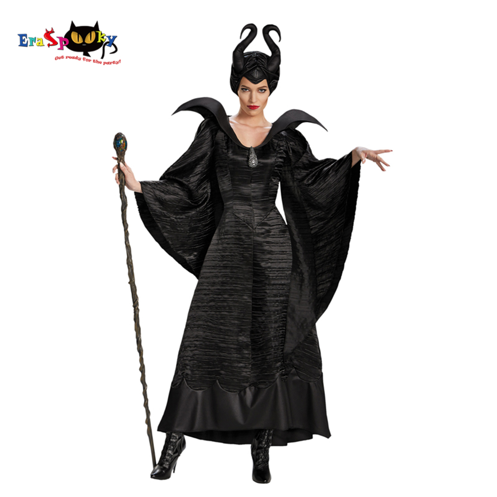 Eraspooky Movie Maleficent Cosplay Black Queen Gown Halloween Costume For Women Maleficent Horn Headwear Comic Con Party Outfit