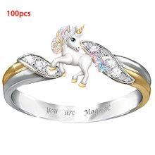 Wholesale(100pcs/lots) Cute Unicorn Rings for Women Girls Cartoon Animal Finger Ring Baby Children Jewelry Gifts new wholesale mix 36 pcs wholesale jewelry lots style mixed lots crystal rhinestone kid children rings free shipping
