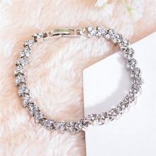 Luxury Female White Crystal Stone Bracelet Charm Zircon Silver Snap Bracelets For Women Classic Love Heart Wedding Bracelet classic heart pattern bracelet for women