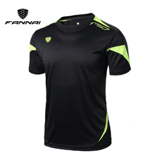 цена FANNAI Men Gym Shirt Running Shirts Quick Dry Fitness T-shirt Men's Tops Tees Clothing Short Sleeve Jerseys Gym Sportswear