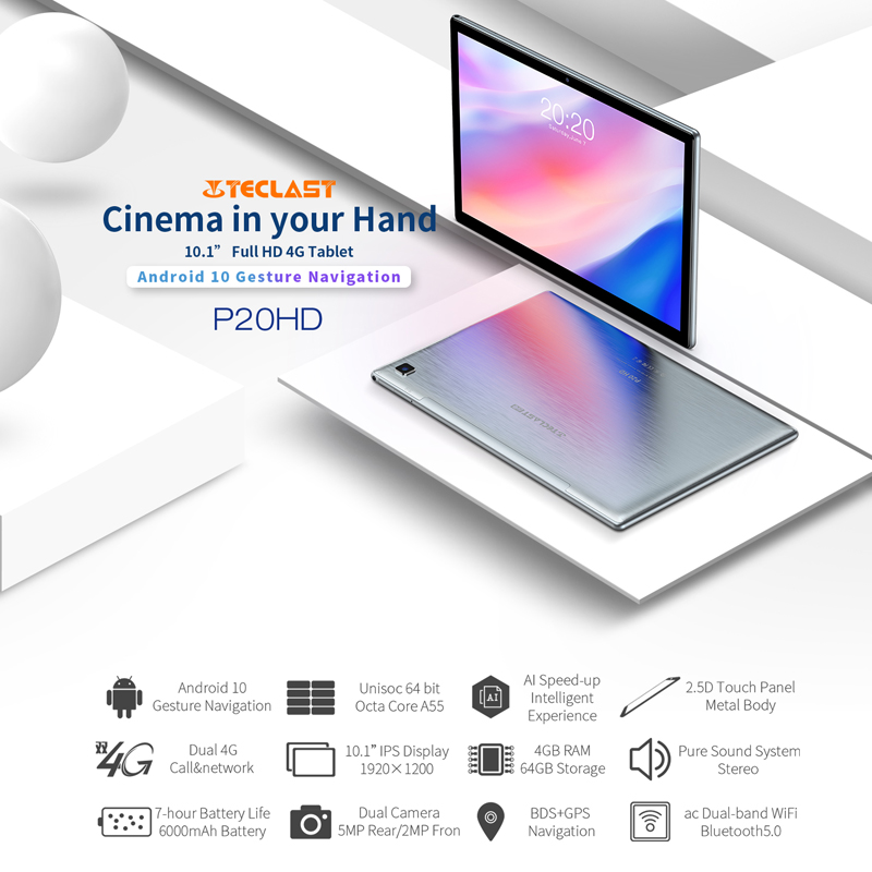 Teclast P20HD 4G Phone Call Tablets Octa Core 10.1 inch IPS 1920×1200 4GB RAM 64GB ROM SC9863A GPS Android 10 6000mAh tablet Pc 1