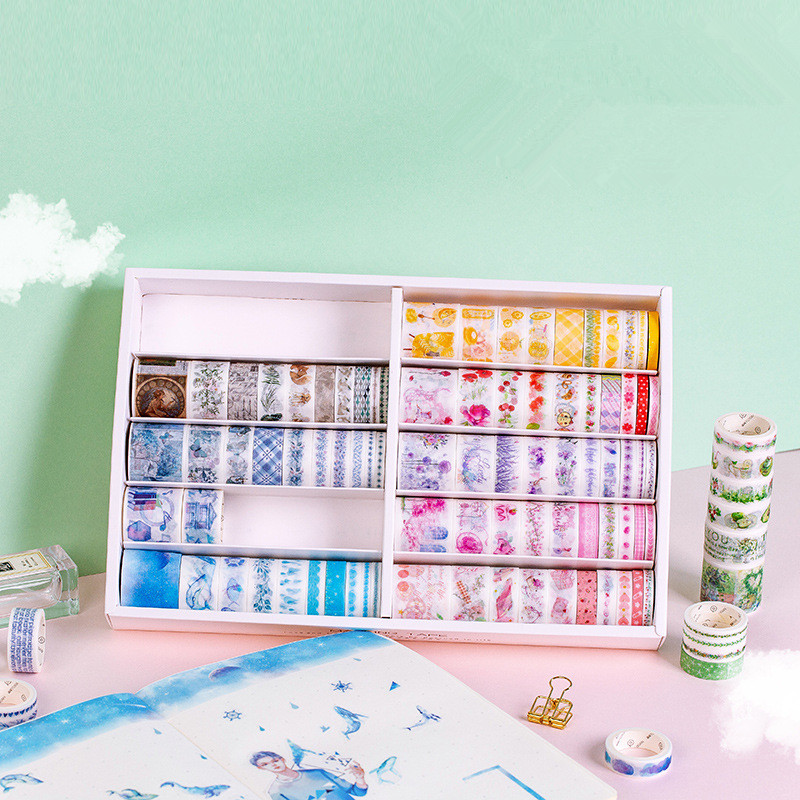 100 Pcs/box Color Comfortable Secret Realm Series Washi Masking Tape Set Paper Stickers Scrapbooking Stationery Decorative Tape