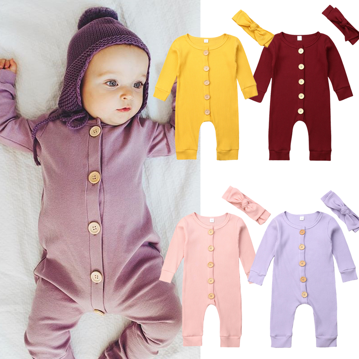 H4559ba700cda4530a89c5a5a0c2d1a9fC Spring Fall Newborn Baby Girl Boy Clothes Long Sleeve Knitted Romper + Headband Jumpsuit 2PCS Outfit 0-24M