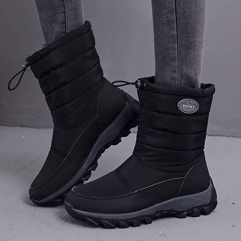 2020 High Quality Cotton Waterproof Ankle Boots Women Elastic Band Keep Warm Snow Shoes Woman Non Slip Outdoor Platform Footwear