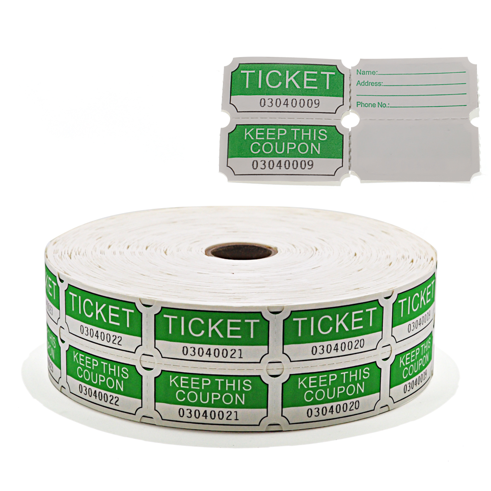 4 Rolls Of 2000 Double Tickets 8 000 Total 50//50 Raffle Party Raffle Tickets