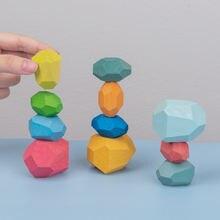 Детская деревянная Цветной камень Дженга строительные блоки