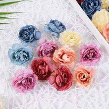 Cabeça de flor artificial de rosas, flor falsa de 5cm de seda para decoração de casa, casamento, artesanato faça você mesmo com recortes de noiva 10 pçs/lote decoração